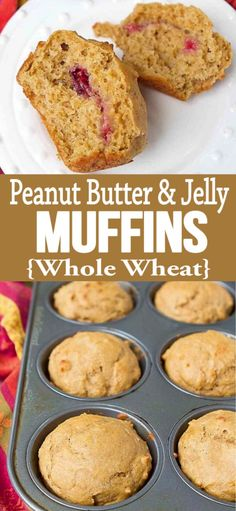 Surprise the kids with a dollop of jelly tucked inside of these peanut butter and jelly muffins. 155 calories and 5 Weight Watchers SP Breakfast Recipes, Snack Recipes, Dessert Recipes, Cooking Recipes, Bread Recipes, Ww Desserts, Baby Recipes, Healthier Desserts, Top Recipes