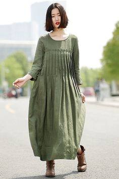 Green Linen Dress linen dress Casual dress Pleated dress