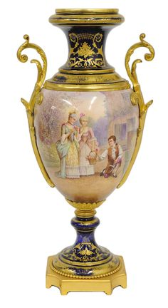 Sevres bronze dore mounted painted and gilded porcelain vase, France, 19th Century