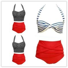 GBP - Vintage Retro Pin Up Rockabilly Polka Dot High Waisted Style Bikini Swimsuit Retro Swimwear, Vintage Swimsuits, Plus Size Rockabilly, Retro High Waisted Bikini, Retro Fashion 50s, Retro Pin Up, Fashion For Petite Women, Polka Dot Bikini, Fur Fashion