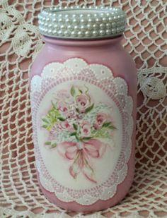 Pintado A Mano Mason Jar Cottage Chic Rosa Rosas Hortensias Shabby Encaje Hp in Artesanías, Piezas de artesanía y acabadas, Artículos pintados a mano   eBay
