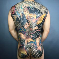 My back Back Tattoos For Guys, Full Back Tattoos, Full Body Tattoo, Great Tattoos, Body Tattoos, Sleeve Tattoos, Tatoos, Ace Tattoo, Yakuza Tattoo
