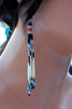 Cascading Turquoise Red and Black Quill by CreationsbyWhiteWolf, $25.00