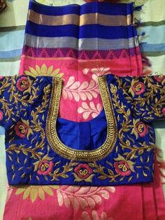 To buy, pls whatsapp on 9618821933 Embroidered blouse Silk Saree Blouse Designs, Fancy Blouse Designs, Bridal Blouse Designs, Blouse Neck Designs, Blouse Styles, Mirror Work Blouse, Maggam Work Designs, Blouse Models, Indian Designer Wear
