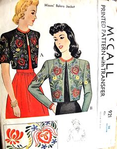 1940s BEAUTIFUL Embroidered Boleros Pattern McCALL 921 Two Lovely Styles Includes Embroidery Iron On Transfers Bust 32 Vintage Sewing Craft Pattern