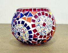 Handmade Stained Glass Mosaic Candle Holder by GlintSymphonie Mosaic Bottles, Mosaic Pots, Mosaic Glass, Stained Glass, Glass Candle Holders, Votive Candles, Mosaic Supplies, Mosaic Crafts, Tea Lights