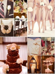 My wedding color pallete consists of chocolate, blush, and champagne. Goes great for my chocolate and champagne theme.