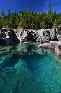 Deep Blue River - Saint Mary River, West Glacier Park, Montana