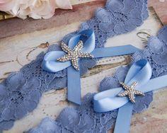 Beach Wedding Garter Set Something Blue Bridal Garter Set
