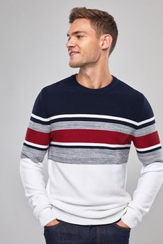 Mens Next Navy/Red Colourblock Crew - Blue Mens Striped Sweater, Gents Sweater, Men's Waistcoat, Mens Fashion Sweaters, Big Men Fashion, Mein Style, Mens Jumpers, Golf Outfit, Mens Clothing Styles
