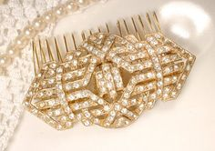 Sash Brooch OR HAiR CoMB TRUE Vintage 1920s 1930 Art Deco Pave Rhinestone Gold Bridal Pin or Wedding Hairpiece Accessory, Gatsby Flapper Sash Brooch OR HAiR CoMB TRUE Vintage 1920s 1930 by AmoreTreasure