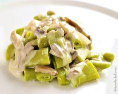 judías verdes con champiñones y salsa de yogur