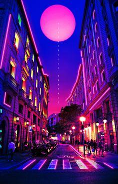 vaporwave neon Neon City on Behance Cyberpunk Aesthetic, Cyberpunk City, Purple Aesthetic, Retro Aesthetic, Aesthetic Backgrounds, Aesthetic Iphone Wallpaper, Aesthetic Wallpapers, Cool Backgrounds, Vaporwave Wallpaper
