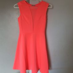✨Neon Pink Charlotte Russe Dress NWOT Charlotte Russe Dress. Sheer middle, size small.     No Trades  Smoke Free ✈️ Fast Shipping  No Modeling Charlotte Russe Dresses