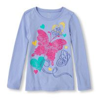 Long Sleeve Butterflies & Hearts Graphic Tee