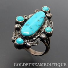 NAVAJO SIGNED STERLING SILVER TURQUOISE ELONGATED SOUTHWESTERN RING SIZE 7.5