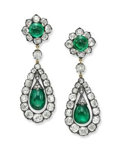 A pair of antique emerald and diamond earrings, Circa Photo courtesy Simon Teakle Fine Jewelry Supernatural Style Royal Jewelry, Emerald Jewelry, Heart Jewelry, Gemstone Jewelry, Fine Jewelry, Ancient Jewelry, Antique Jewelry, Vintage Jewelry, Sapphire Earrings