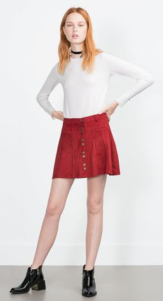 Zara russet button up suede skirt 70s style