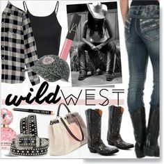 Wild West Style * Pink Outfit by calamity-jane-always on Polyvore featuring Current/Elliott, Glamorous, Fendi, NARS Cosmetics, Bobbi Brown Cosmetics, Marc Jacobs, Miss Me, Lucchese, Ariat and Post-It