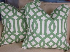 green & white love continues with Kelly Wearstler Imperial Trellis - linen fabric available through Etsy $125.