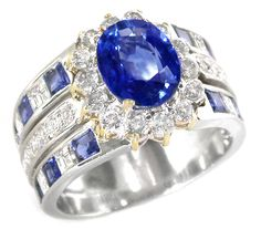 Diamond Sapphire Platinum 18k Yellow Ring | New York Estate Jewelry | Israel Rose