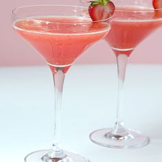 Strawberry Shortcake Martini: 3  fresh strawberries; 2 oz cake-flavored vodka; 2 oz lemonade; 1/2 oz amaretto liqueur; ice. Muddle strawberries and vodka in a cocktail shaker. Add lemonade, amaretto and some ice to the cocktail shaker. Shake briefly but vigorously. Strain into a chilled martini glass. Garnish rim of glass with half of a strawberry.