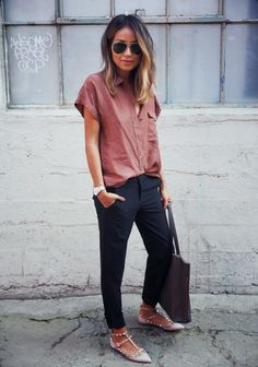 Free People + Trousers + Valentino Rock Stud Flats: Sartorial Street Style - Sincerely Jules