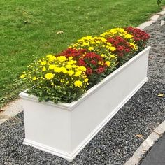 Long PVC Garden Planter for Landscaping Driveway and Front Yard Front Yard Planters, Large Planters, Outdoor Planters, Flower Planters, Driveway Landscaping, Driveway Fence, Landscaping Ideas, Long Planter Boxes, Flower Window