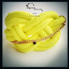 Rope & black diamond Cuff  bright Colorful Bracelet by RocksDelux, $160.00