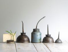 vintage collection of industrial oil cans. $34.00, via Etsy.