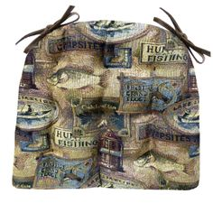 b13c3718bde Woodlands Fish Camp dining chair pads feature a tapestry of vintage lodge  signs celebrating fresh water fishing