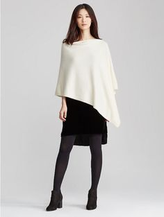 NWT-Eileen-Fisher-100-Italian-Undyed-Cashmere-Poncho-Soft-White-O-S
