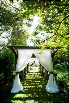path to the party.love this idea for an outdoor wedding and reception!it'd be neat to build it for your wedding and then later use it at your home for a flower garden path Wedding Ceremony Ideas, Wedding Venues, Wedding Entrance, Wedding Walkway, Wedding Pergola, Reception Entrance, Arch Wedding, Wedding Reception, Wedding Dresses