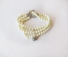 Weddings Ivory Pearl Bracelet Chunky Pearl Bracelet by ADbrdal Bridal Cuff, Wedding Bracelet, Wedding Jewelry, Pearl Bracelet, Pearl Jewelry, Cuff Jewelry, Jewlery, Wedding Accessories For Bride, Shoulder Necklace