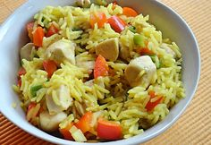 Currys rizs csirkemellel Croatian Recipes, Hungarian Recipes, My Recipes, Healthy Recipes, Kfc, Fried Rice, Pasta Salad, Food And Drink, Lunch