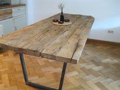 Einzelstck, Holz- Tisch / Esstisch aus alten Eichenbalken, 2,5m | How Do It Info