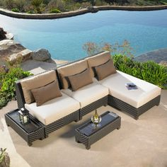 palm beach 5 piece deep seating sectional set by mission hills