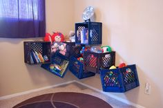 Getting Organized: Toy Storage (Small Stuff) also reused covered diaper boxes, oatmeal containers, jars, pillowcases, etc.