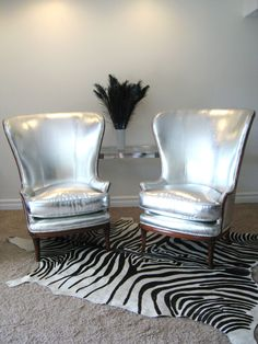 Hollywood Regency Silver Chairs...