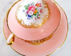 RESERVED FOR J-Aynsley Dusty Rose Gold Scroll 1940's Teacup and Saucer - Edit Listing - Etsy