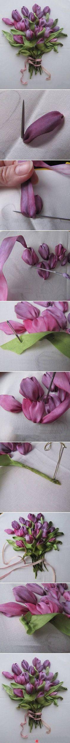 tulipanes de lazo § buonissimo tutorial di ricamo con nastri, cinese. §