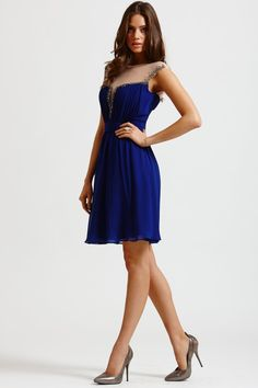 Little Mistress Blue Mesh Insert Fit and Flare Dress - Little Mistress from Little Mistress UK