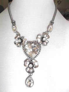 Silver tone Flowers and Heart large rhinestone necklace #Chain