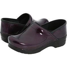 Dansko purple clogs.