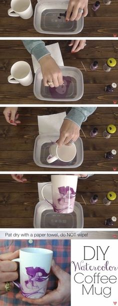 nice DIY Water Color Mugs diy craft crafts easy crafts diy ideas diy crafts crafty diy decor craft decorations how to home crafts tutorials Diy Home Crafts, Easy Diy Crafts, Crafts To Sell, Decor Crafts, Craft Decorations, Homemade Gifts, Diy Gifts, Craft Tutorials, Craft Projects