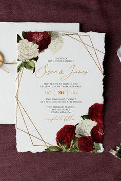 Burgendy Wedding, Green And Burgundy Wedding, Deep Red Wedding, Red Wedding Colors, Dream Wedding, Rose Wedding, Burgundy Wedding Invitations, Wedding Invitation Sets, Invites