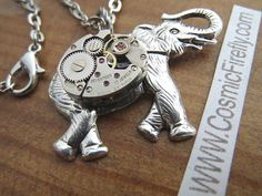 Steampunk Elephant Necklace Small Vintage Watch Movement Pendant Silver Plated Handcrafted Jewelry