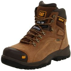 Caterpillar Men's Diagnostic Steel-toe Flat Feet Work Boots      Caterpillar Steel toe is one of the best work shoes for flat feet.     It is a boot and you will of course need these kinds of boots for going to office.     These are comfortable and excellent for walking.     This shoe is made up of leather and sole is of rubber.     It is a durable and comfortable boot by Cat which you can wear for work.     The shoe is made up of 100 % waterproof leather.