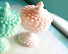 Pink Milk Glass Compote with Lid / Hobnail Candy Dish Pedestal / Footed Bowl Pedestal / Wedding Dessert Buffet Bar Candy Bar / Vintage Pink