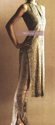 Golden sequin and embroidered kurta - long and sleeveless